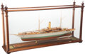 Collectible, A Presidential Steam Yacht Mayflower Model with Mahogany and Glass Case. 69 x 29-1/2 x 8-1/8 inches (175.3 x 74....