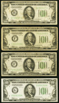 Small Size:Federal Reserve Notes, Fr. 2152-F $100 1934 Dark Green Seal Federal Reserve Notes. Two Examples. Fine or Better;. Fr. 2153-B $100 1934A Mule Fede... (Total: 4 notes)