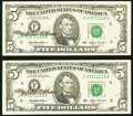 Small Size:Federal Reserve Notes, Mary Ellen Withrow Courtesy Autographed Fr. 1982-F $5 1993 Federal Reserve Notes. Two Examples. Choice Crisp Uncirculated.. ... (Total: 2 notes)