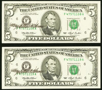 Mary Ellen Withrow Courtesy Autographed Fr. 1982-F $5 1993 Federal Reserve Notes. Two Examples. Choice Crisp Uncirculate...