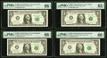 Fr. 1928-B*; E*; F* $1 2003 Federal Reserve Star Notes. PMG Graded Gem Uncirculated 66 EPQ (2); Choice Uncirculated 63 E...