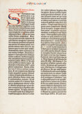 Books:Early Printing, [Bible in Latin]. [Mainz: Johann Gutenberg and Johann Fust, ca. 1450-1455]. A single folio leaf on unwatermarked paper from ...