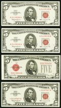 Small Size:Legal Tender Notes, Fr. 1531 $5 1928F Wide I Legal Tender Note. Choice About Uncirculated;. Fr. 1536 $5 1963 Legal Tender Notes. Two Consecuti... (Total: 4 notes)