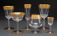 A One Hundred-Eight Piece St. Louis Thistle Pattern Partial Gilt Glass Stemware Service<