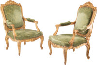 A Large Pair of Louis XV Carved Giltwood Fauteuils, France, circa 1860 43 x 26-3/4 x 25-1/4 inches (109.2 x 67.9 x 64.1...