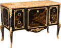 Furniture, A French Gilt Bronze-Mounted Ebonized and Japanese Lacquer Commode with Marble Top, late 19th century. Marks: GOUCHER, PAR...