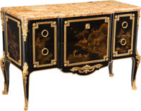 A French Gilt Bronze-Mounted Ebonized and Japanese Lacquer Commode with Marble Top, late 19th century Marks: GO