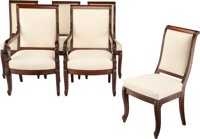A Set of Six French Charles X Carved Mahogany Chairs, 19th century Marks: JACOB 38-1/2 x 23-3/4 x 19-1/2 inches (97.8...
