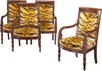 A Set of Four French Restoration Mahogany Armchairs, mid 19th century 36-1/2 x 23-1/2 x 18 inches (92.7 x 59.7 x 45.7 cm...
