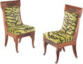 Furniture, A Pair of French Empire Carved Mahogany Hall Chairs, circa 1820. Marks to one example: XVII. Marks to other example: I... (Total: 2 Items)