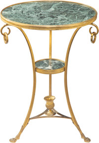 An Empire-Style Gilt-Bronze and Marble Gueridon, early 20th century 28-1/2 x 21-1/2 x 21-1/2 inches (72.4 x 54.6 x 54.6...