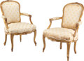 Furniture, A Pair of French Louis XV-Style Carved Giltwood Fauteuils with Fortuny Upholstery, late 19th century . 35-1/4 x 25 x 21-3/4 ... (Total: 2 Items)