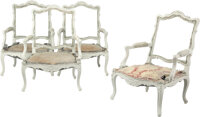 A Set of Four French Louis XV-Style Painted Fauteuils, late 19th century 40 x 29 x 25 inches (101.6 x 73.7 x 63.5 cm) (e...