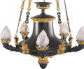 Lighting, A French Empire-Style Patinated and Gilt Bronze Six-Light Chandelier, 19th century . 39 x 26 inches (99.1 x 66.0 cm). Pr...