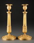Decorative Accessories, A Pair of French Restauration Gilt Bronze Candlesticks, circa 1820. 12 x 5-1/4 x 5-1/4 inches (30.5 x 13.3 x 13.3 cm). P... (Total: 2 Items)
