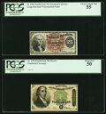 Fr. 1301 25¢ Fourth Issue PCGS Choice About New 55; Fr. 1379 50¢ Fourth Issue Dexter PCGS About New 50. ... (T...