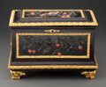 Carvings, An Italian Ebonized Wood and Pietre Dure Casket with Gilt Bronze Mounts, mid-19th century. 9-1/2 x 13-3/4 x 9-1/2 inches (24...