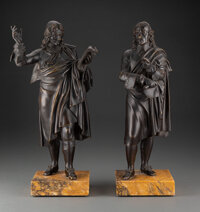 A Pair of French Bronze Figures: Philosophers, 19th century 14-1/2 x 8 x 4-1/2 inches (36.8 x 20.3 x 11.4 cm) (each... (...