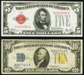Small Size:World War II Emergency Notes, Fr. 1526 $5 1928A Legal Tender Note. About Uncirculated;. Fr. 2309 $10 1934A North Africa Silver Certificate. Ve...