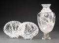 Carvings, A Group of Three Rock Crystal Table Articles, 20th century. 14 x 6-1/2 inches (35.6 x 16.5 cm) (largest, vase). Property... (Total: 3 Items)