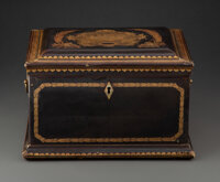 A Fine Japanese Lacquered Wood Tea Caddy with Original Pewter Interior Fittings, 19th century 8-5/8 x 13-5/8 x 10-3/4 in...