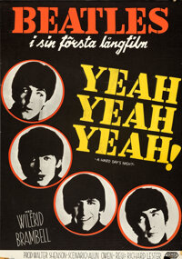"""A Hard Day's Night (United Artists, 1964). Rolled, Fine/Very Fine. Swedish One Sheet (27.5"""" X 39"""")"""