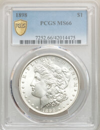 1898 $1 MS66 PCGS. PCGS Population: (870/124 and 149/21+). NGC Census: (488/20 and 12/2+). CDN: $375 Whsle. Bid for NGC/...