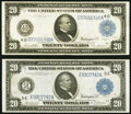 Large Size:Federal Reserve Notes, Fr. 979a $20 1914 Federal Reserve Note Fine;. Fr. 982 $20 1914 Federal Reserve Note Fine.. ... (Total: 2 notes)