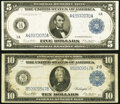 Large Size:Federal Reserve Notes, Fr. 847a $5 1914 Federal Reserve Note Fine;. Fr. 911b $10 1914 Federal Reserve Note Fine.. ... (Total: 2 notes)