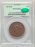 1819/8 1C Large Date, N-2, R.1, MS63 Brown PCGS. CAC. Satiny luster rolls through the plum-brown and olive-gold surfaces...