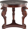 Furniture, A French Directoire Mahogany Gueridon with Black Marble Top, late18th century. 30-1/8 x 31-1/2 inches (76.5 x 80 cm...