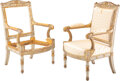 Furniture, A Pair of French Empire Partial-Gilt and Painted Hardwood Fauteuils by Pierre-Gaston Brion , France, circa 1810. Marks: P.... (Total: 2 Items)