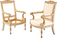 A Pair of French Empire Partial-Gilt and Painted Hardwood Fauteuils by Pierre-Gaston Brion , France, circa 1810 Ma