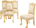 Furniture, A Set of Four French Empire Carved Giltwood Armchairs by Jacob D. R. Meslée , France, first quarter 19th century . Marks to ... (Total: 4 Items)