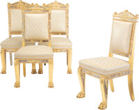 A Set of Four French Empire Carved Giltwood Armchairs by Jacob D. R. Meslée , France, first quarter 19th century...