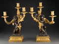 Decorative Accessories, A Pair of French Restauration Patinated and Gilt Bronze Three-Light Figural Candelabra, circa 1825. 17-1/2 x 12-1/2 x 8-1/2 ... (Total: 2 Items)