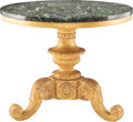 Furniture, A Carved Giltwood Pedestal Center Table with Antique Marble Top. 30-1/4 x 36-1/2 x 36-1/2 inches (76.8 x 92.7 x 92.7 cm). ...