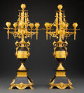 Decorative Accessories, A Pair of Continental Gilt Bronze Six-Light Candelabra, late 19th-early 20th century. 24-3/4 x 11-1/2 x 11-1/2 inches (62.9 ... (Total: 2 Items)