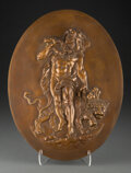 Metalwork, A Continental Patinated Bronze Wall Plaque. 15-1/4 x 11-1/2 x 0-7/8 inches (38.7 x 29.2 x 2.2 cm). Property from the Col...