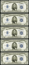 Small Size:Silver Certificates, Fr. 1651 $5 1934A Silver Certificates. Five Consecutive Examples. Choice Crisp Uncirculated.. ... (Total: 5 notes)