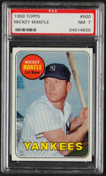 Baseball Cards:Singles (1960-1969), 1969 Topps Mickey Mantle (Last Name In Yellow) #500 PSA NM...
