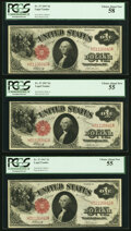 Fr. 37 $1 1917 Legal Tender Three Consecutive Examples PCGS Graded Choice About New 58; Choice About New 55 (2)