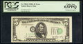 Shifted Third Printing Error Fr. 1962-B $5 1950A Federal Reserve Note. PCGS Choice New 63PPQ