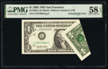 Printed Fold Error Fr. 1925-L $1 1999 Federal Reserve Note. PMG Choice About Unc 58 EPQ