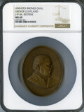 1885 Indian Peace Medal, Grover Cleveland, Restrike, Julian IP-46, MS69 NGC. Bronze, 60 x 76 mm