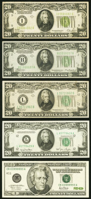 Fr. 2052-I $20 1928B Light Green Seal Federal Reserve Note. Very Fine; Fr. 2055-B $20 1934A Federal Reserve Not... (Tota...
