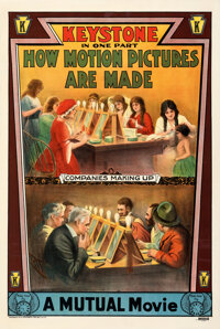 """How Motion Pictures Are Made (Keystone, 1914). Fine+ on Linen. One Sheet (87"""" X 42"""")"""