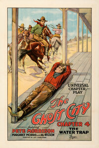 """The Ghost City (Universal, 1923). Very Fine on Linen. One Sheet (27.5"""" X 41"""") Chapter 4 -- """"The Water Tra..."""