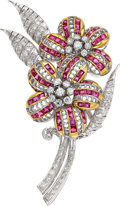 Estate Jewelry:Brooches - Pins, Ruby, Diamond, White Gold Brooch Stones: Squar...