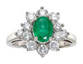 Estate Jewelry:Rings, Emerald, Diamond, White Gold Ring Stones: Oval...